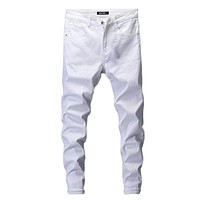 Men's 8107 Solid White Stretch Mens Jeans
