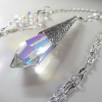 Swarovski Clear Crystal Necklace Clear AB Swarovski Crystal Drop Pendant Victorian Filigree Blend Of Rainbow Colors Icicle Gift for her