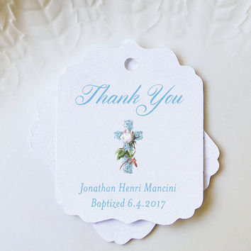 Baptism Favor Tag, Blue Personalized Gift Tag, Confirmation, First Communion Tag, Floral Cross Custom Label, Christening Favor - Set of 20