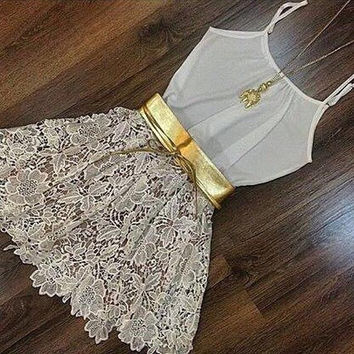 Fashion Sling Embroidered Lace Dress