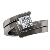 AMAZING 1.56CT WHITE PRINCES CUT 925 STERLING SILVER ENGAGEMENT AND WEDDING RING