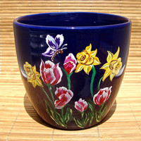 Hand Painted Blue Flowerpot With Tulips And Daffodils, Unique Gift Ideas