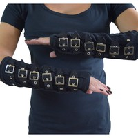 Gothic Cyber Steampunk Black Arm Warmers Gloves with Buckles