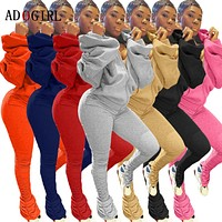 Adogirl Sexy Off Shoulder 2 Piece Set Women Puff Sleeve Top + Stacked Sweatpants Sets Autumn Winter Streetwear Femme Tracksuit
