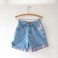 80s light blue jean shorts. high waist cuffed shorts.