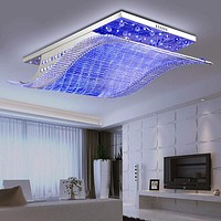 Modern Crystal and Stainless Steel Ceiling Light