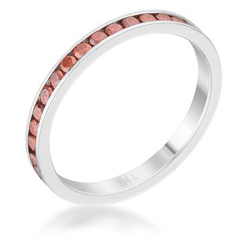 Teresa Dk Champagne Silver Eternity Ring | 1ct | Stainless Steel
