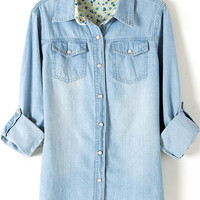 Light Blue Shirt Collar Long Sleeve Bleached Denim Blouse