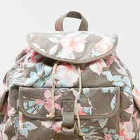 's Floral Canvas Backpack (Grey)
