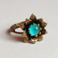 Flower Mood Ring  6 mm  Antique Brass  adjustable by everise