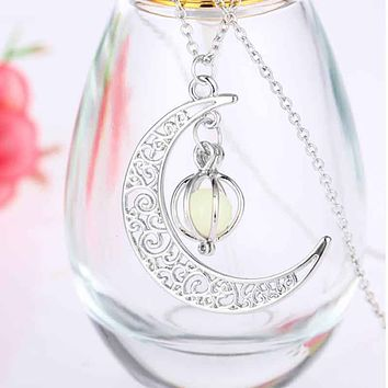Christmas Hollow Moon Necklace Love Birdcage Luminous Bead Pendant Choker