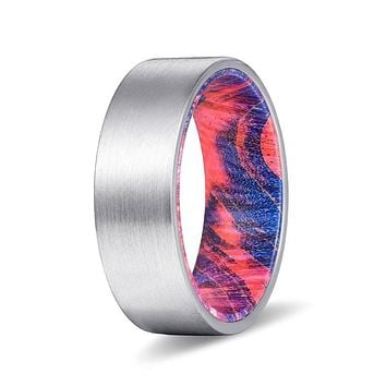 DEZSO Men's Pipe Cut Tungsten Ring with Blue & Red Box Elder Wood Sleeve 8mm