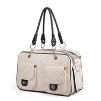 Dog Carrier Bag Luxury Diamond Quilted Outdoor Yorkie&Chihuahua Carrier Winter