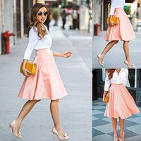 Summer High Waist Long A Line Pleated Midi Skirt