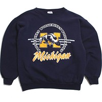 University of Michigan Wolverine M Circle Design TNT Crewneck Sweatshirt Navy (Large)