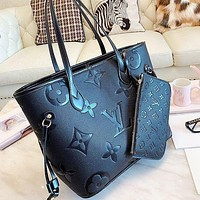 LV Louis Vuitton Shopping Leather Tote Handbag Shoulder Bag Purse Wallet Set Two-Piece Bag