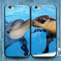 iPhone 4 4s 5 5s 5c 6 6s plus iPod Touch 4th 5th 6th Generation Cute Best Friend Couple Bf Gf Kiss Phone Case Funny Dolphin Baby Seal Cover