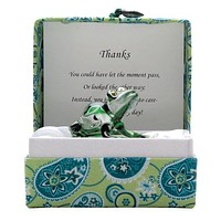 Small Messenger Thanks Green Frog Glass Figurine Gift