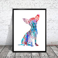 Chihuahua 10 Watercolor Print, Archival Fine Art Print, Children's Wall Art, Home Decor, dog watercolor, watercolor painting, dog art,