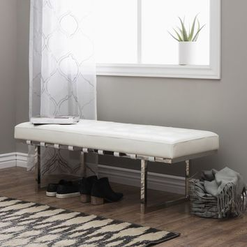 Strick & Bolton Andalucia White and Stainless Steel Modern Leather Button-tufted Bench | Overstock.com Shopping - The Best Deals on Benches