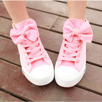 A 082606 High Help Lovely Bowknot Canvas Shoes