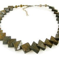 Bronzite Gemstone Collar Necklace with Diamond Shaped Overlapping Beads in Copper Brown and Grey