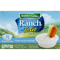 Hidden Valley Original Ranch Dressing, To Go Cups, 1.5 Ounces, 8 count - Walmart.com