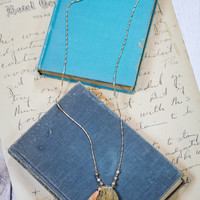 Brown Stone and Tassel Necklace in Gold