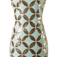Flapper Riches Dress | Mint Gold Sequin 20s Shift Party Dresses | Rickety Rack