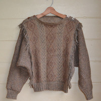 Vintage 80s Pullover Sweater Southwestern Sweater Fringe Sweater Women's Size Small