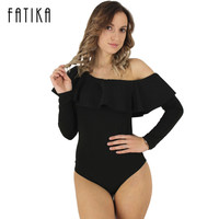 FATIKA 2017 New Women Long Sleeve Spring Autumn Bodysuit Sexy One Shoulder Bodycon Jumpsuit With Ruffles Casual Rompers Playsuit