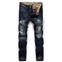 High quality men's jeans hole Casual  ripped jeans men hiphop pants  Straight jeans for men denim trousers