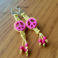 Pink and Yellow Peace Hemp Earrings Organic Jewelry Hippie Earrings