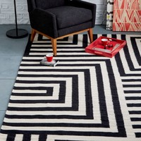 Small Scale Maze Dhurrie Rug - Iron