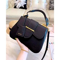 PRADA 2019 new women's high-end wild cross pattern saddle bag flip buckle single shoulder slung handbag