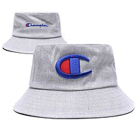 Champion Fashion Women Men Cute Embroidery Shade Sunhat Fisherman Hat Cap Grey