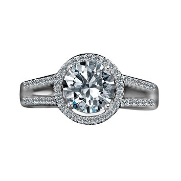 2 CT.(8mm) Intensely Radiant Round Diamond Veneer Cubic Zirconia Split Shank Floating Halo Engagement/Wedding Sterling Silver Ring. 635R4008