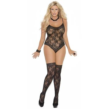 Sexy Plus Size Flip Patterned Lace Teddy with Stockings