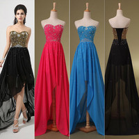 Black Hi-lo Pageant Prom Dress Party Formal Cocktail Military Gown Sequins Strapless