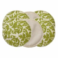 Washable Nursing Pads in Avocado Damask and Cream