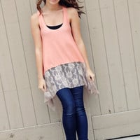 Lace bottom Summer Tank in Peach by BglorifiedBoutique on Etsy