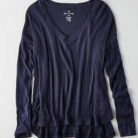 AEO Soft & Sexy Rib Drop Shoulder T-Shirt , Indigo