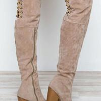 Locklyn Suede Knee High Boots in Taupe