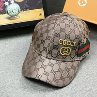 GUCCI Fashion New Embroidery Letter More letter Women Men Sunscreen Leisure Cap Hat Khaki