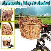 """Vintage Wicker Leather Straps Bicycle Front Basket Handcraft Linen with Lid Waterproof Handle Outdoor Picnic 13.78""""x10.04""""x9.06"""""""