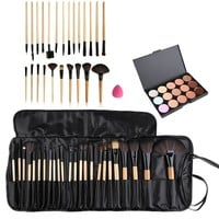 Beauty Professional Makeup Brushes Concealer Fashion 24pcs Makeup Cosmetic Brushes +15 Color Concealer Platte + Sponge Puff Set