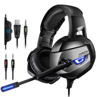 2018 New 3.5mm Stereo Game Headphone Earphone Gaming Headset With Microphone Mic Led For Computer PC PS4 Xbox One Playstation 4