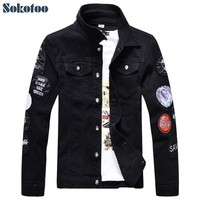 Trendy Sokotoo Men's slim full sleeve black denim jean jacket Casual Turn down collar badge patch design outerwear Top AT_94_13