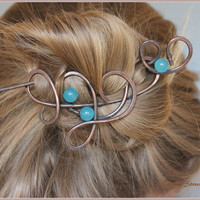 "Hair Stick 3 1/4"" with Blue Aquamarine Stone Beads, Hair Slide, Bun Holder, Hair Clip Copper Hair Pin, Hair Accessories, Women , Bun Holder"