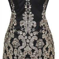 Meier Women's Black Strapless Embroidery Beaded Short Homecoming Cocktail Party Dress-6